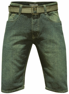 Men's Knee-Length Shorts w/Belt in Vintage Wash Denim