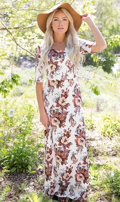 """Michelle"" Modest Maxi Dress in White Floral Print"