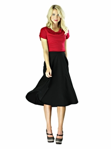 """Midi Crepe"" Modest Skirt in Black"