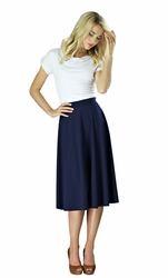 """Midi Crepe"" Modest Skirt in Navy Blue *BACK IN STOCK*"