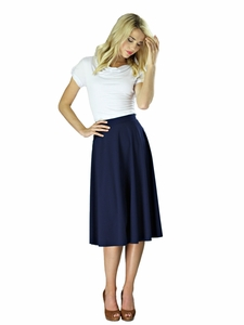"""Midi Crepe"" Modest Skirt in Navy Blue"