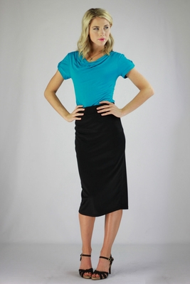 """Midi Pencil"" Modest Skirt in Black *RESTOCKED*"