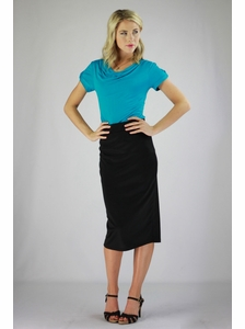 """Midi Pencil"" Modest Skirt in Black"