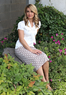 """Midi Pencil"" Modest Skirt in Greige Polka Dot"