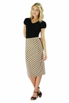 """Midi Pencil"" Modest Skirt in Tan Polka Dot"