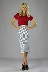"""Midi Pencil"" Modest Skirt in White w/Black Polka Dot"