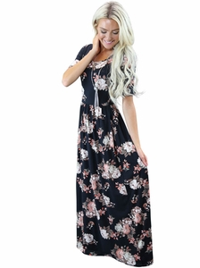 """Miranda"" Modest Maxi Dress in Black Floral Print"