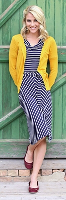 """Molly"" Modest Dress in Navy Stripes *BACK IN STOCK*"