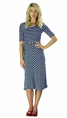 """Molly"" Modest Dress in Navy Stripes *RESTOCKED*"
