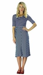 """Molly"" Modest Dress in Navy Stripes"