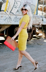 Mustard Crew Neck Dress by CARA LOREN