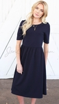 """Natalie"" Modest Dress in Navy Blue Crepe"