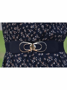 Navy Spandex Belt with Gold Buckle