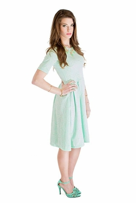 """Nicole"" Modest Lace Dress in Mint *RESTOCKED*"