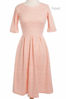 """Nicole"" Modest Lace Dress in Peachy Pink *RESTOCKED*"