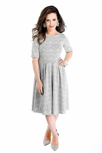 Nicole Modest Lace Dress in Silver