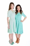 """""""Nicole"""" Modest Lace Dress in Turquoise"""
