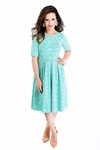 """Nicole"" Modest Lace Dress in Turquoise"