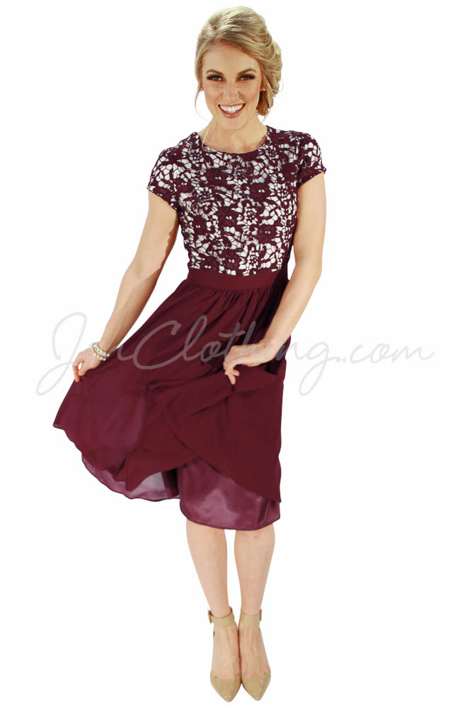 Jenclothing S Quot Olivia Quot Semi Formal Modest Dress In Wine
