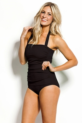 One-Piece Halter Swimsuit in Black