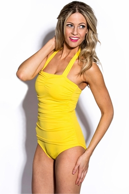 One-Piece Halter Swimsuit in Citrus Yellow