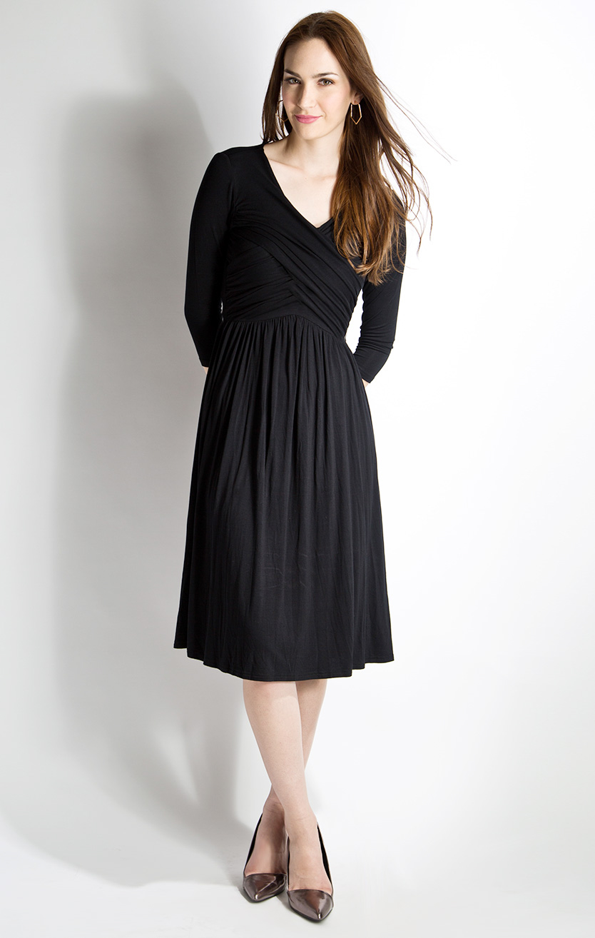 Party at Midnight Modest Dress in Black with 3/4 Sleeves