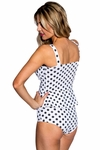 Peplum Bombshell Swim Top in Charcoal Polka Dot