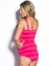 Peplum Bombshell Swim Top in Red/Fuchsia Pink Stripe