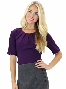 Pleated Collar Modest Top in Purple