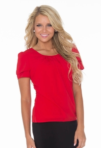 """Pleated Collar"" Top in Red"