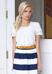 """Pleated Collar"" Top in White"