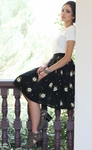 Pleated Modest Skirt in Black w/Cream Floral Print