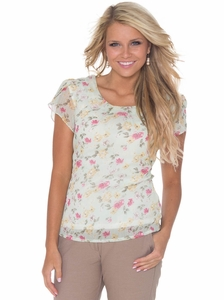"""Pleated Scoop Neck"" Top in Sage Floral Print"