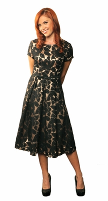 """Renee"" Modest Dress in Black Lace"
