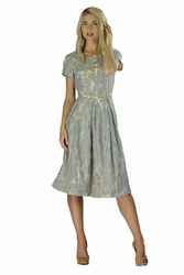 """Renee"" Modest Dress in Grey Lace"
