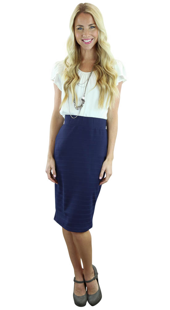 Modest Midi Pencil Skirt in Ribbed Navy Blue