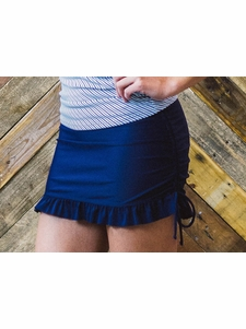 Ruffled Swim Skirt Modest Tankini Bottoms in Solid Navy