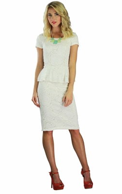 """Sabrina"" Lacy Peplum Modest Dress in Cream"