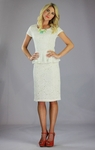 """Sabrina"" Lacy Peplum Modest Dress in Cream *BACK IN STOCK*"