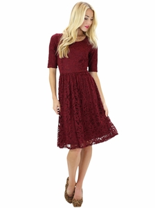 """Samantha"" Modest Lace Dress in Burgundy"