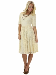 """Samantha"" Modest Lace Dress in Light Beige"