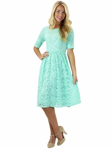 """Samantha"" Modest Lace Dress in Mint"