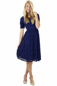 """Samantha"" Modest Lace Dress in Navy"