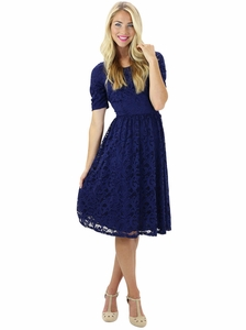 """Samantha"" Modest Lace Dress in Navy Blue"
