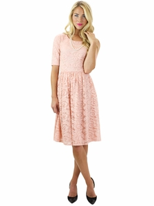 """Samantha"" Modest Lace Dress in Pink"