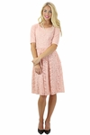"""""""Samantha"""" Modest Lace Dress in Pink"""