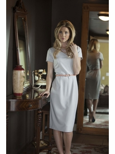 """Sara"" Modest Dress in Light Grey"