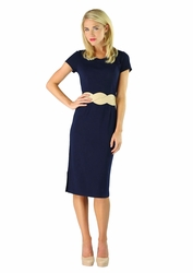 """Sara"" Modest Dress in Navy Blue"