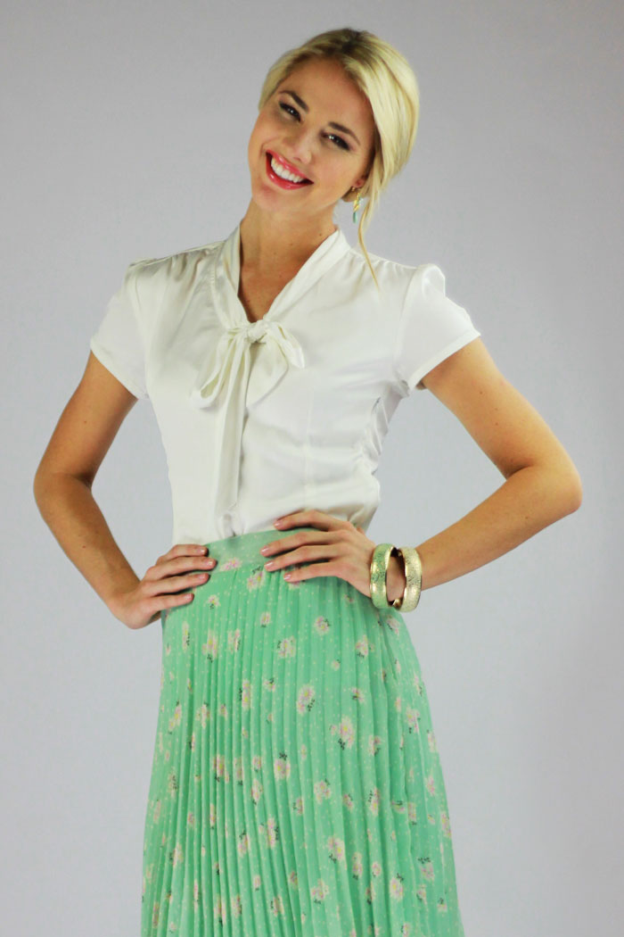 Modest Tops Satin Bow Blouse In Cream