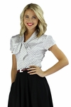 """Satin Bow"" Modest Blouse in Black & White Polka Dot"